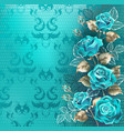 composition with turquoise roses vector image vector image