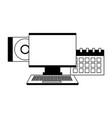 computer monitor calendar compact disk vector image