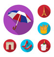 country france flat icons in set collection for vector image vector image