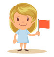 cute elementary school girl student holding red vector image