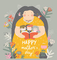 cute mother reading book with her children in vector image