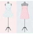 Different vintage dresses on a mannequin vector image vector image