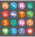 flat colored healthcare themed icons vector image