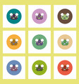 flat icons halloween set of smiling pumpkin vector image vector image