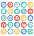 flower icons set on color circles white background vector image