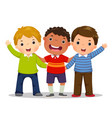 group of three happy boys standing together vector image