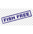 grunge fish free rectangle stamp vector image vector image