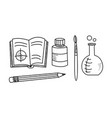 hand drawn education icons set school objects vector image