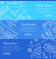 hand drawn winter sports equipment vector image vector image