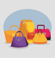 handbags and backpack to special shopping sale vector image vector image