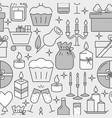 holiday celebration seamless pattern in line style vector image