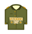isolated captain uniform veteran day label vector image
