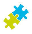 jigsaw puzzle two pieces team cooperation vector image vector image