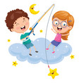 kids sitting on cloud vector image vector image
