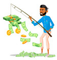 lucky businessman with a fishing rod in hands and vector image