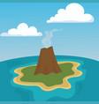 mountain volcano eruption lava nature landscape vector image vector image