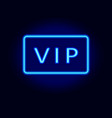 neon vip text in blue vector image vector image
