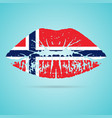 norway flag lipstick on the lips isolated on a vector image vector image