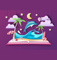 open fairy tale book with dolphin vector image vector image