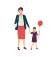 pair of mother and daughter holding hands and vector image