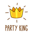 party king logo party lettering with crown vector image vector image