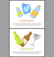 plastic and glass waste set colorful banners vector image