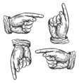 Pointing up down left right finger vector image vector image