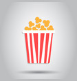 popcorn icon in flat style cinema food on white vector image