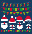 santa claus hats beards and mustaches vector image vector image
