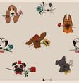 seamless pattern with dogs holding flowers vector image vector image