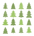 set hand drawn christmas trees vector image