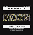 t-shirt with bklyn camouflage vector image vector image