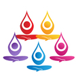 Team of yoga people logo vector image vector image