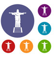 the christ the redeemer statue icons set