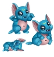 Toothy blue monster with big eyes and ears vector image vector image