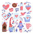 valentine s day elements set love decor for vector image