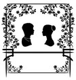 wedding silhouette with flowers 2 vector image vector image