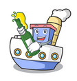 with beer ship mascot cartoon style vector image vector image