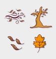 set autumn season natural plants vector image