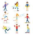 teenagers children playing sports set children vector image