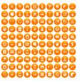 100 auto service center icons set orange