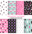 8 Seamless Geometric Triangles Patterns vector image vector image