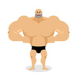 Angry Muscled Aggressive bodybuilder on white