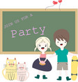 baby girl and boy invite to the party vector image