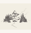 beautiful cozy house mountain fir forest vector image