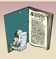 book and astronaut science fiction vector image vector image