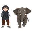 boy and baby elephant vector image