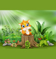 cartoon of baby fox sitting on tree stump with gre vector image vector image