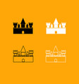 castle black and white set icon vector image vector image