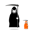 Cat death in black cloak and with scythe Death in vector image vector image